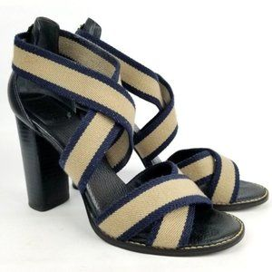Tory Burch Laurie Navy Tan Strappy Stretch Heels
